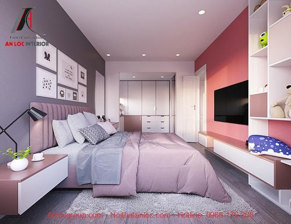 Phòng ngủ màu hồng đào