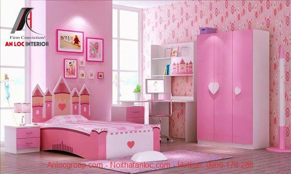 Phòng ngủ trẻ em màu hồng