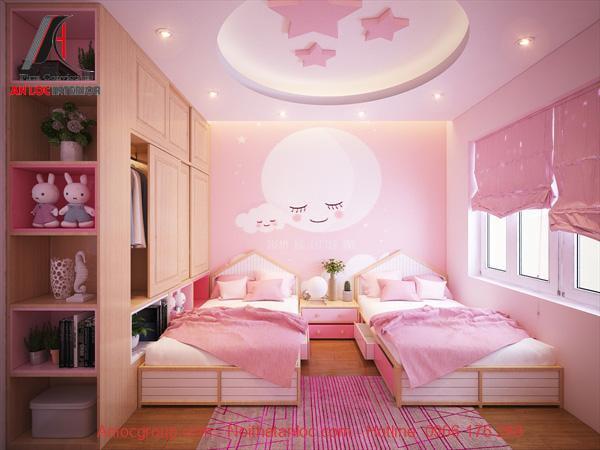 thiết kế phòng ngủ màu hồng