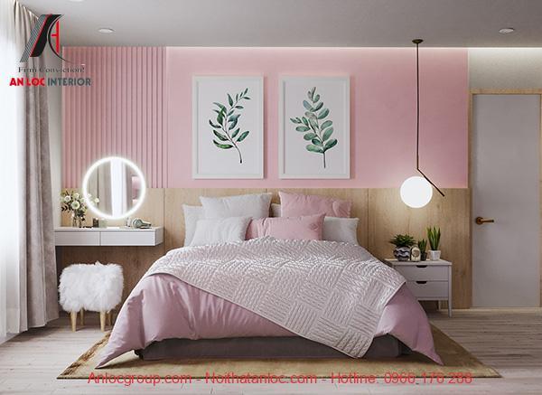 Sơn phòng ngủ màu hồng pastel
