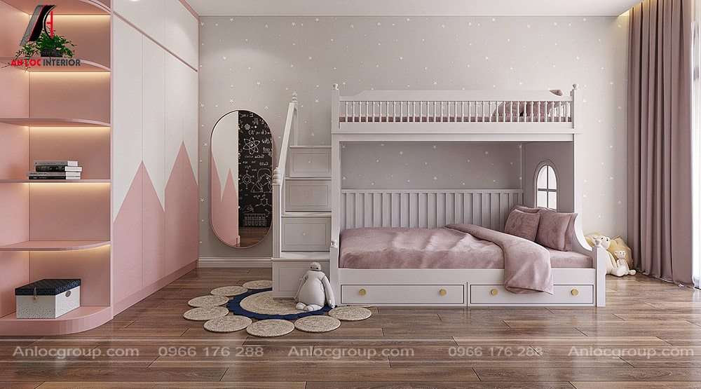 Tầng 4 biệt thự - Phòng ngủ giường tầng cho 2 bé