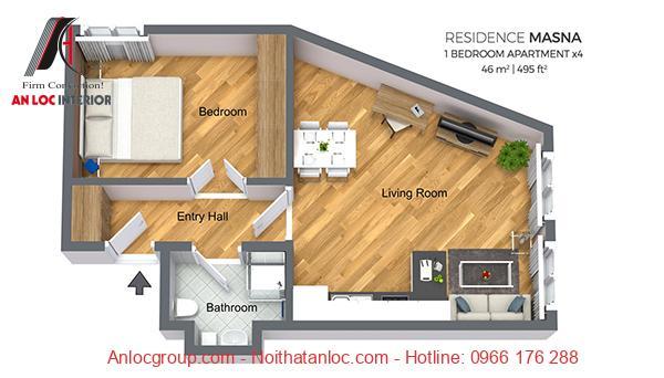Thiết kế chung cư 46m2