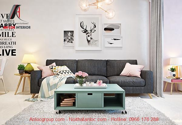 Thiết kế căn hộ 48m2 2 phòng ngủ