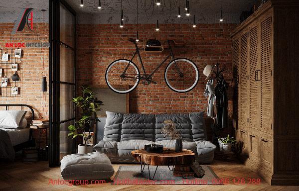 Mẫu 1: Thiết kế căn hộ studio 30m2 mộc mạc, bình dị