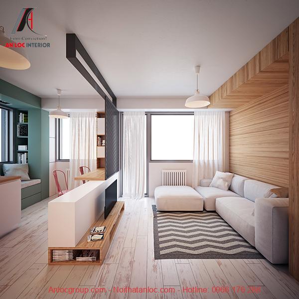 Mẫu 3: Thiết kế căn hộ studio cho thuê gọn gàng, ngăn nắp