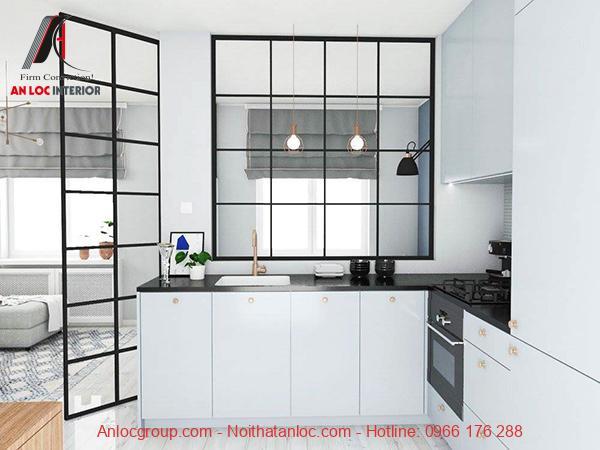 Mẫu 2: Mẫu thiết kế căn hộ studio đẹp, hiện đại