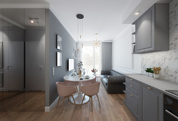 Mẫu thiết kế căn hộ studio có diên tích từ 25m2 - 55m2