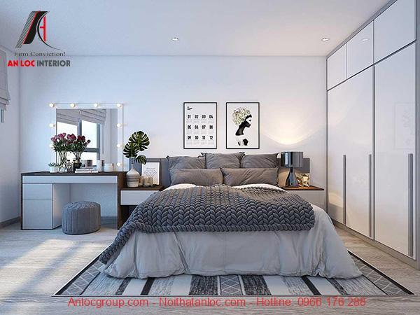 Thiết kế nội thất căn hộ 55m2 2 phòng ngủ