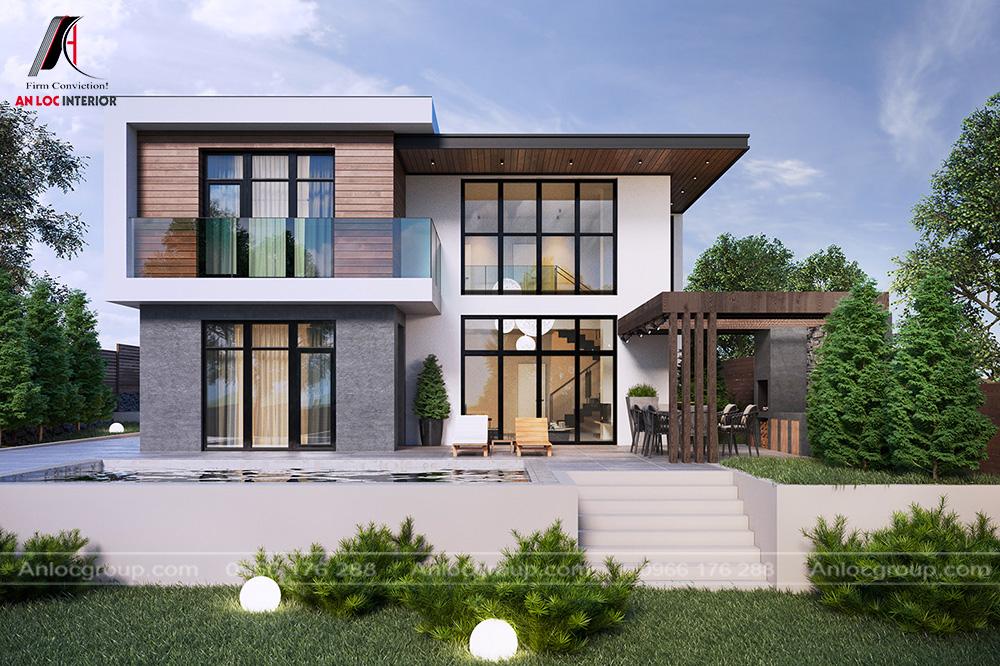 Mẫu thiết kế nhà biệt thự 2 tầng phong cách hiện đại