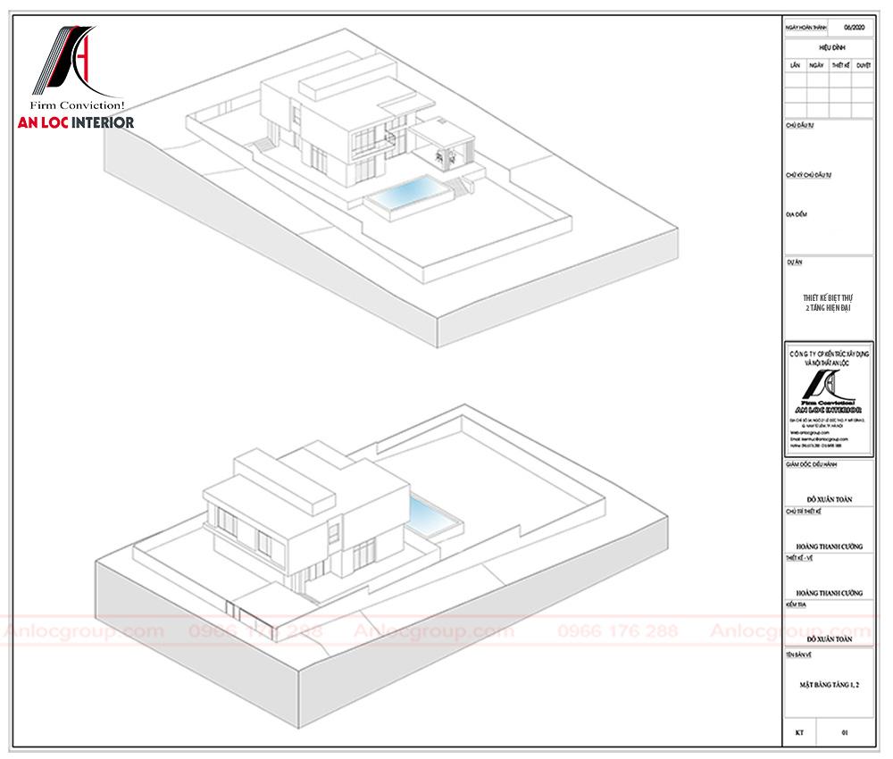 Mặt bằng nhà biệt thự 2 tầng phong cách hiện đại