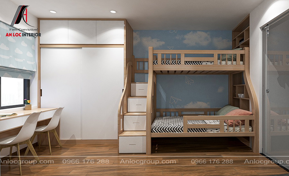 Tầng 3 nội thất phòng ngủ trẻ em nhà phố