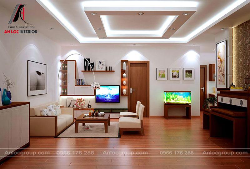 Thi công nội thất trần thạch cao phòng khách