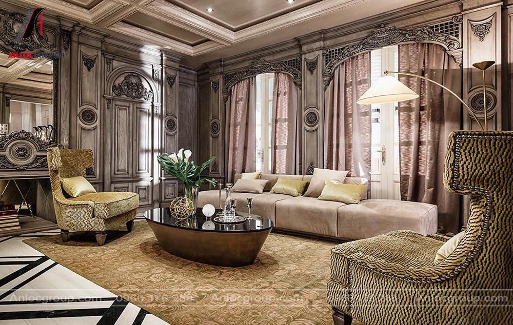 Mẫu nội thất phòng khách tân cổ điển 11