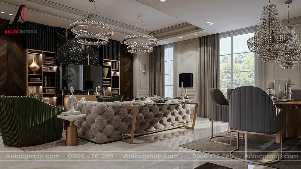 Mẫu nội thất phòng khách tân cổ điển 19