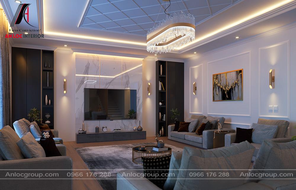 Mẫu nội thất phòng khách tân cổ điển 24