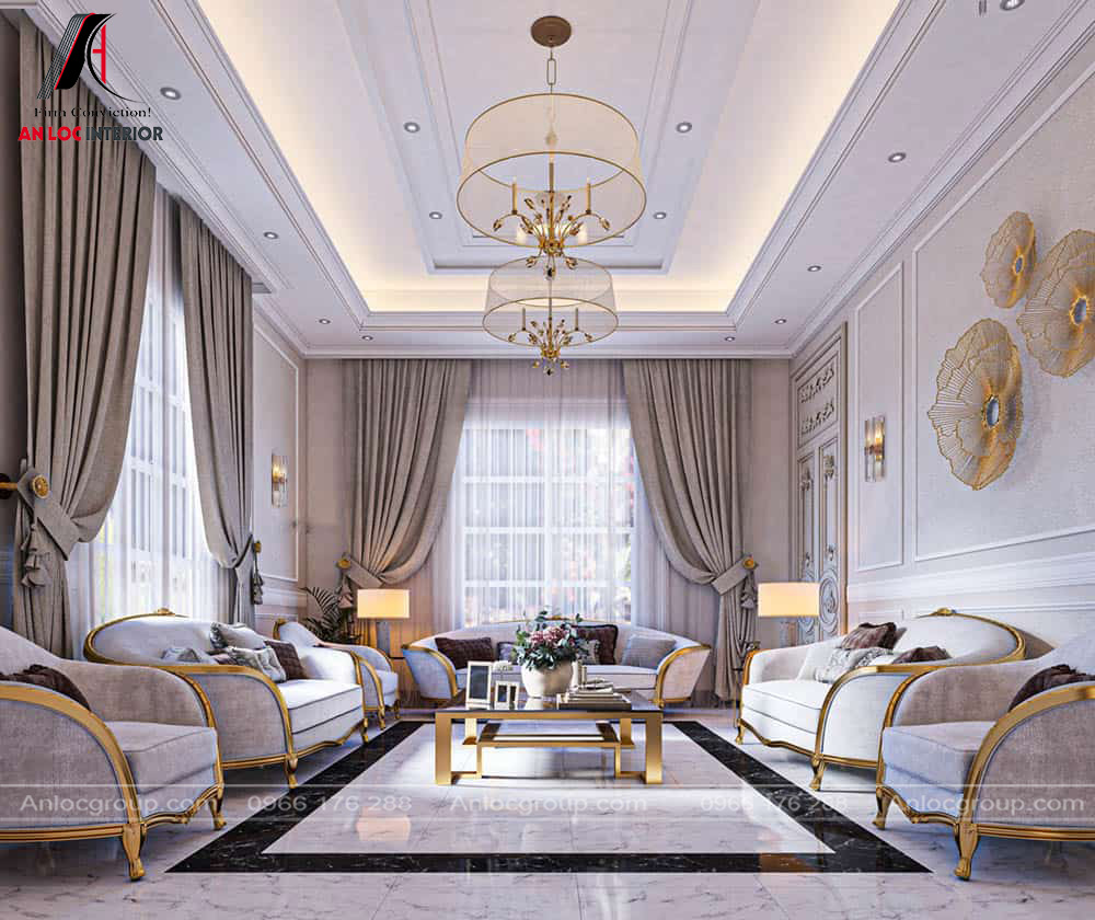 Mẫu nội thất phòng khách tân cổ điển 27