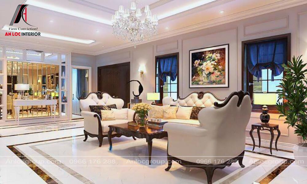 Mẫu nội thất phòng khách tân cổ điển 28
