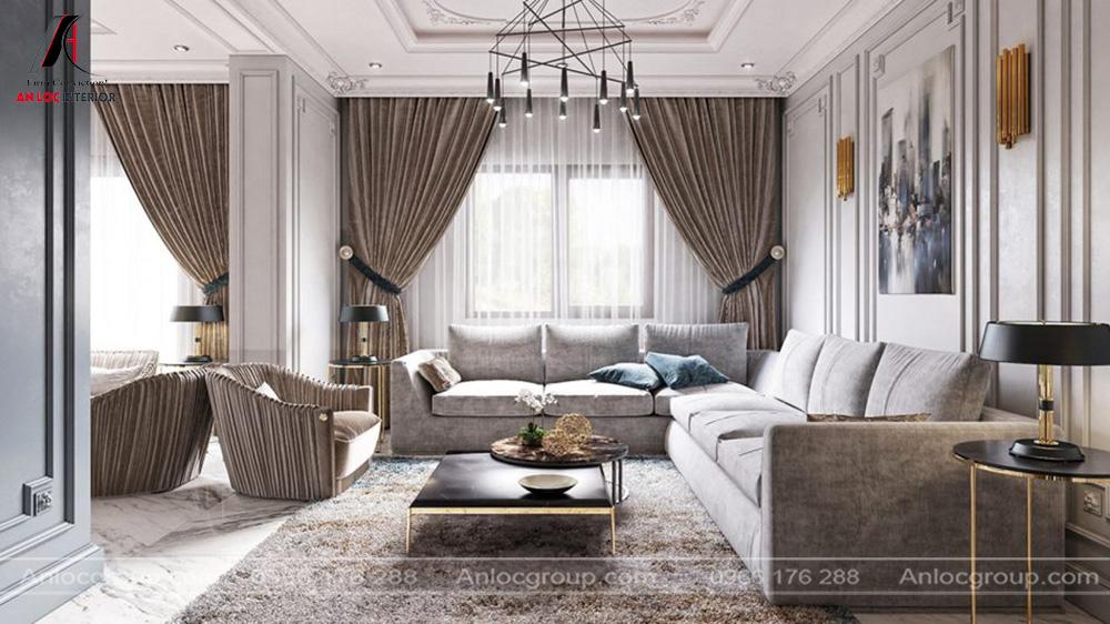 Mẫu nội thất phòng khách tân cổ điển 30