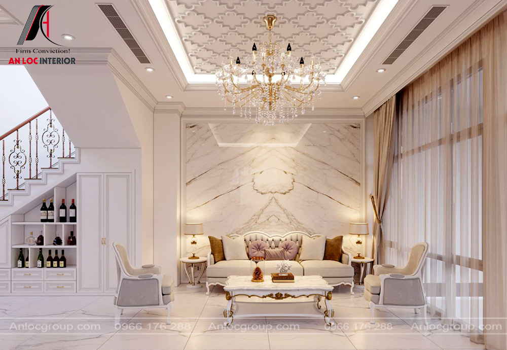 Mẫu nội thất phòng khách tân cổ điển 4