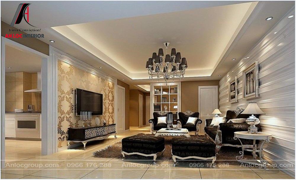 Mẫu nội thất phòng khách tân cổ điển 6