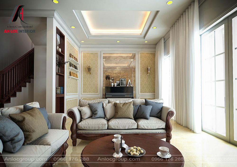 Mẫu nội thất phòng khách tân cổ điển 7