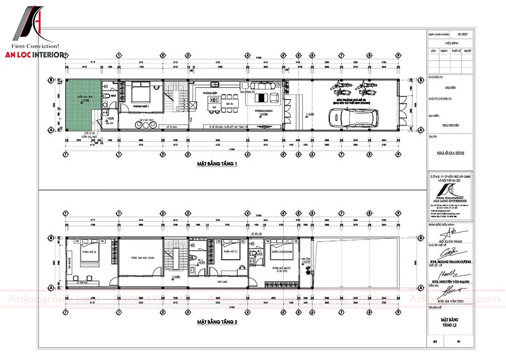 Mặt bằng nội thất nhà phố 3 tầng 5x20m tại Thái Nguyên