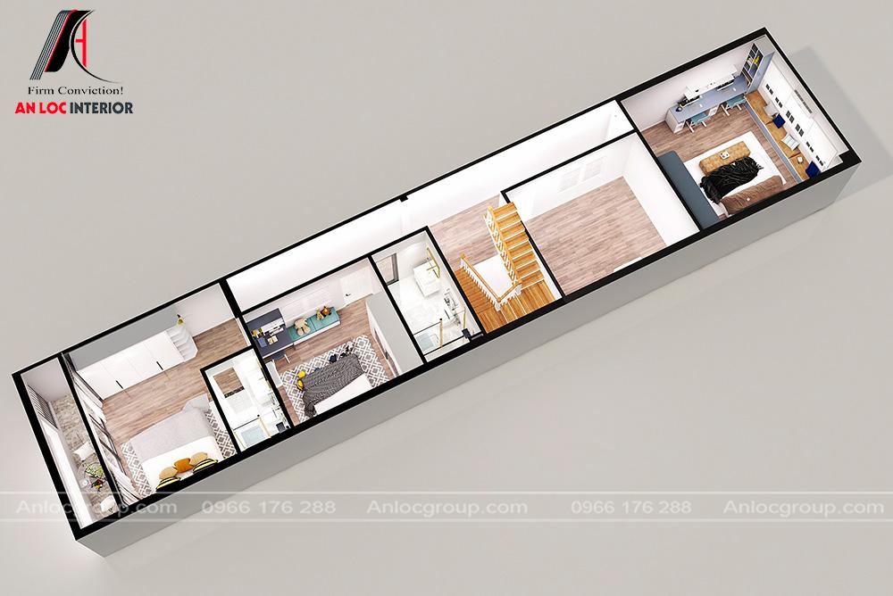 Nội thất tầng 2 nhà phố tại Thái Nguyên