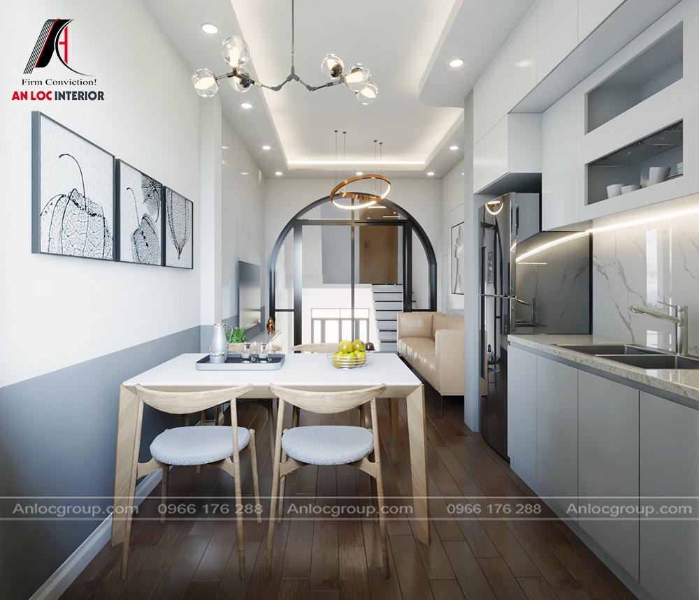 Phòng khách, bếp nhà ống 2 tầng 1 tum tại Hưng Yên