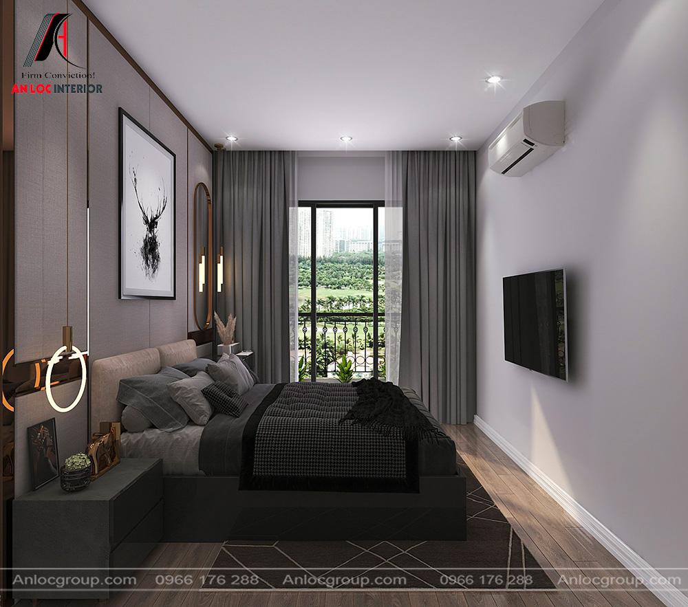Phòng ngủ master nhà ống 2 tầng 1 tum tại Hưng Yên