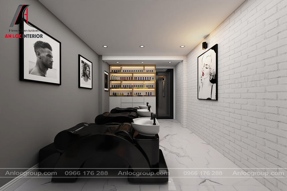 Salon tóc nhà ống 2 tầng 1 tum tại Hưng Yên