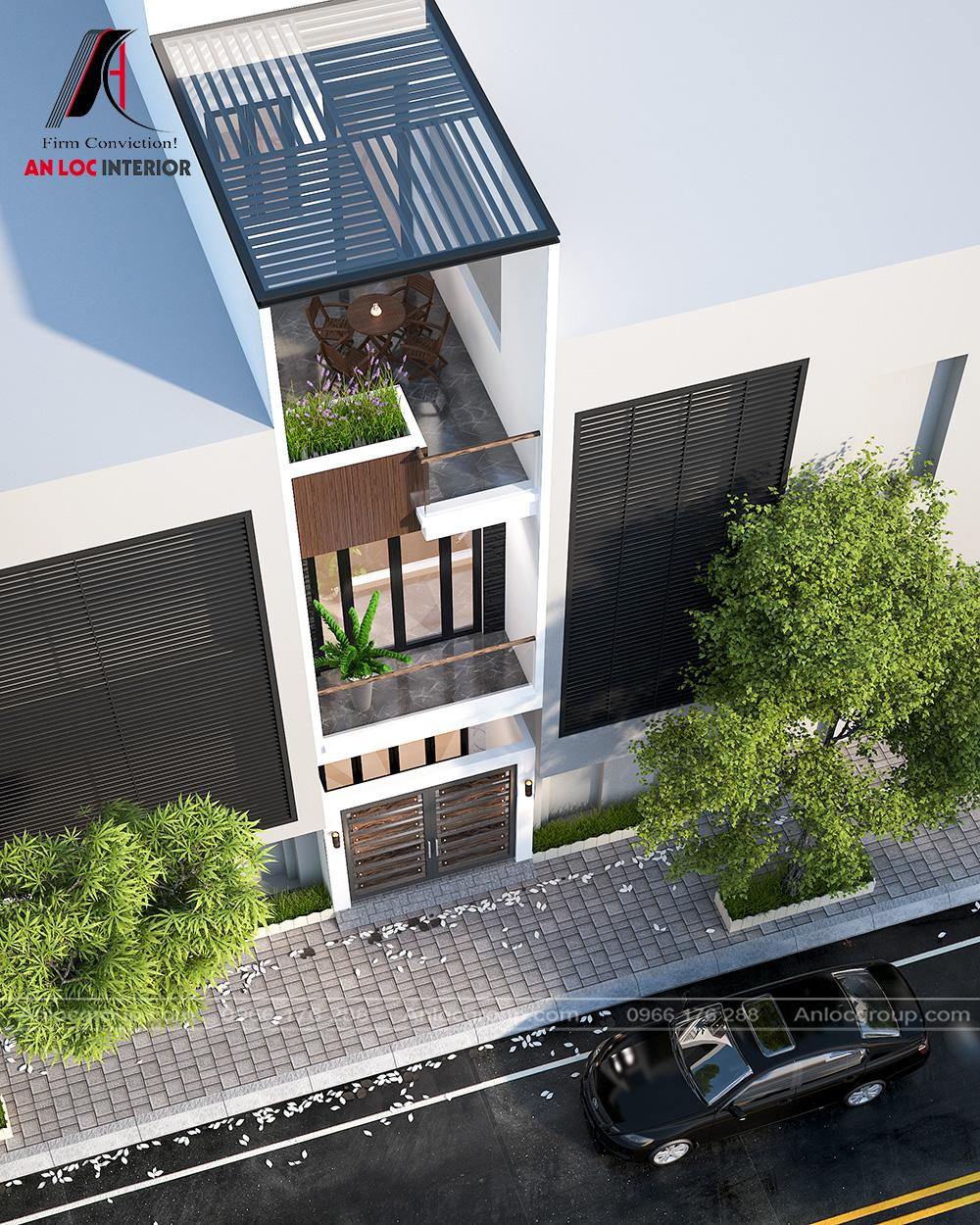 Thiết kế kiến trúc nhà ống 2 tầng 1 tum tại Hưng Yên